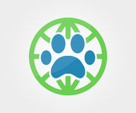 Vector logo design element. Paw, animal, globe, Stock Photography