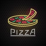 Vector logo, design element for pizza with neon sign Royalty Free Stock Photography