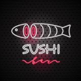 Vector logo, design element for sushi with neon sign Royalty Free Stock Photography