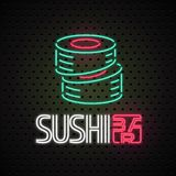 Vector logo, design element for sushi, sushi delivery service with neon lights sign Stock Photo