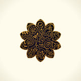 Vector logo design. Floral round gold islam star. Vintage element, emblem in Eastern style Royalty Free Stock Image