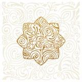 Vector logo design. Floral round gold islam star. Vintage element, emblem in Eastern style Stock Images