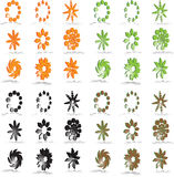 Vector logo & design symbols. Four sets of 3D  logos and design symbols in 4 colors Stock Photography