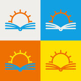 Vector logo design template. Abstract line sun and open book. Ed Royalty Free Stock Photography