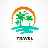 Vector logo design template. Abstract sun and palm tree on seasi. De. Concept for travel agency, tropical resort, beach hotel, spa. Summer vacation symbol Stock Photos