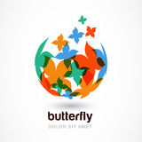 Vector logo design template. Colorful abstract flying butterflie Stock Photography
