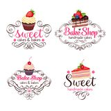 Cupcake and cake. Vector logo design template cupcake and cake. Icons sweet pastries for bake shop stock illustration