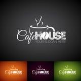 Vector Logo Design Template de la taza de Coffe Sistema del ejemplo de la etiqueta de la tienda de Cofe con diverso color Imagenes de archivo