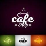 Vector Logo Design Template de la taza de Coffe Sistema del ejemplo de la etiqueta de la tienda de Cofe con diverso color Fotos de archivo