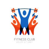 Vector logo design template for fitness or bodybuilding. Abstract illustration of colorful sport people with barbell and dumbbells. Creative concept for sport Royalty Free Stock Image