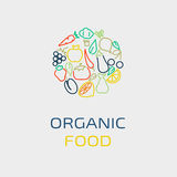 Vector logo design template with fruit and vegetable icons in trendy linear style Royalty Free Stock Photography