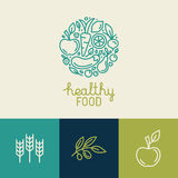 Vector logo design template with fruit and vegetable icons Stock Images
