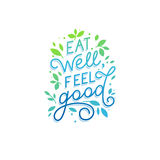 Vector logo design template with hand-lettering text - eat well, Stock Image