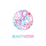 Vector logo design template made with icons in trendy linear sty Royalty Free Stock Photos