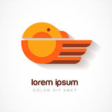 Vector logo design template. Orange bird symbol. Abstract flat i Royalty Free Stock Photography