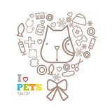 Vector logo design template for pet shops set Royalty Free Stock Image