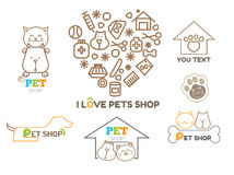 Vector logo design template for pet shops set Royalty Free Stock Photography