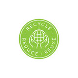 Vector logo design template - recycle and reuse, reduce concept. Vector logo design template and badge in trendy linear style - zero waste concept, recycle and royalty free illustration