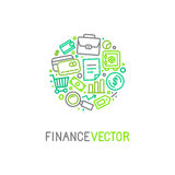 Vector logo design template in trendy linear style. With icons related to banking and business - finance concept for financial startups and traders Stock Images