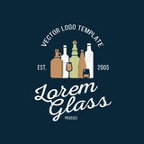 Vector logo design template in trendy style. Wine, beer and water bottle graphic logotype element. Concept Royalty Free Stock Photo