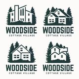 Vector logo design of a trees silhouette and small house. Royalty Free Stock Photography