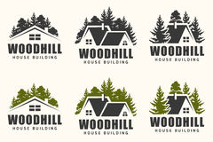 Vector logo design of a trees silhouette and small house. Logo for house repair and building Stock Photos
