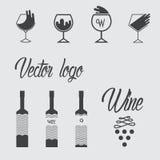 Vector logo design - wine set Royalty Free Stock Image