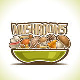 Vector logo Dish with edible Mushrooms Stock Image