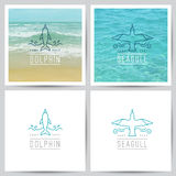 Vector logo, dolphin and seagull Royalty Free Stock Images