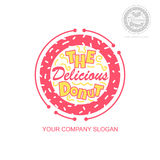 Vector logo with donut for bakery or prints. The Delicious Donut Royalty Free Stock Photos