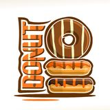 Vector logo for Donut. Confectionery, heap of assorted frosting chocolate donuts with stripes topping of cocoa sugar syrup, original typography font for orange Royalty Free Stock Image