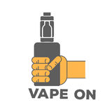 Vector logo electronic cigarette. In hand Stock Image