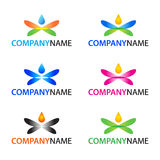Vector logo elements. Collection of 6 vector abstract logo design elements. Set of isolated colorful nature icons for your company logotype on white background Royalty Free Stock Images