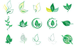 Vector Logo Elements Leaf. A collection of leaf vector logo elements. Fully editable. Feel free to change the colors Royalty Free Stock Photo