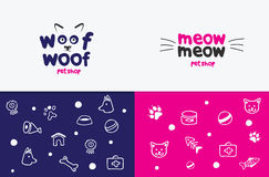 Vector logo, emblem, label design elements for pet shop, zoo shop, pets care and goods for animals. woof woof, meow meow. Cat mustache, dog muzzle, Pet store Royalty Free Stock Photography