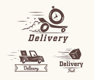 Vector logo of fast delivery watch, car and box Stock Photography
