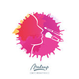 Vector logo with female face and makeup brushes on watercolor splash background. Stock Image