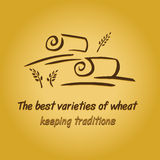 Vector logo with field and ears. Harvesting grain.  Keeping traditions Stock Photo