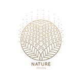 Logo mandala. Vector logo of floral element. Abstract flower mandala.Linear emblem for design of natural products, flower shop, cosmetics and ecology concepts Royalty Free Stock Photo