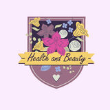 Vector logo with flowers. Beauty and health Royalty Free Stock Photography