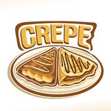 Vector logo for french Crepe. Confection, 2 triangle suzette with sliced banana & chocolate spread dessert on plate, original typography font for word crepe Royalty Free Stock Photography