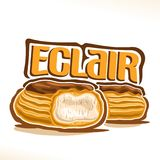 Vector logo for French Eclair. Poster with cut dessert with custard cream & chocolate glaze, illustration of cakes for cafe menu, original typography typeface Stock Image