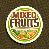 Vector logo for Fruits. Sign with set of watermelon, green apple, sour lime, tropical banana fruit, sweet melon, fresh pear and ripe orange, veg mix label with Stock Images