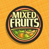 Vector logo for Fruits. Sign with set of watermelon, green apple, sour lime, tropical banana fruit, sweet melon, fresh pear and ripe orange, veg mix label with Royalty Free Stock Image