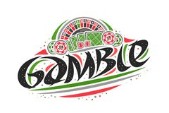 Vector logo for Gamble. Creative outline illustration of american roulette wheel, original decorative brush lettering for word gamble, simplistic abstract royalty free illustration