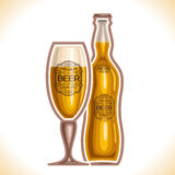 Vector logo for glass cup and bottle beer Royalty Free Stock Photo