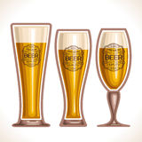Vector logo for glass cups of beer. Consisting of 3 cups, filled to the brim light lager and pilsner beer on a white background. On glass pint with alcohol Stock Photo