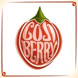 Vector logo for Goji Berry. Label with one whole berry for package of fresh juice or hot drink, price tag with original font for words goji berry inscribed in Royalty Free Stock Photography