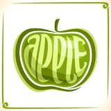 Vector logo for green Apple. Label with one whole fruit for package of fresh juice or candy, price tag with original font for word apple inscribed in fruit Stock Photography
