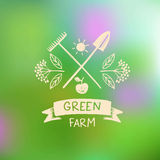 Vector logo green farm. Logo organic food. Royalty Free Stock Photography